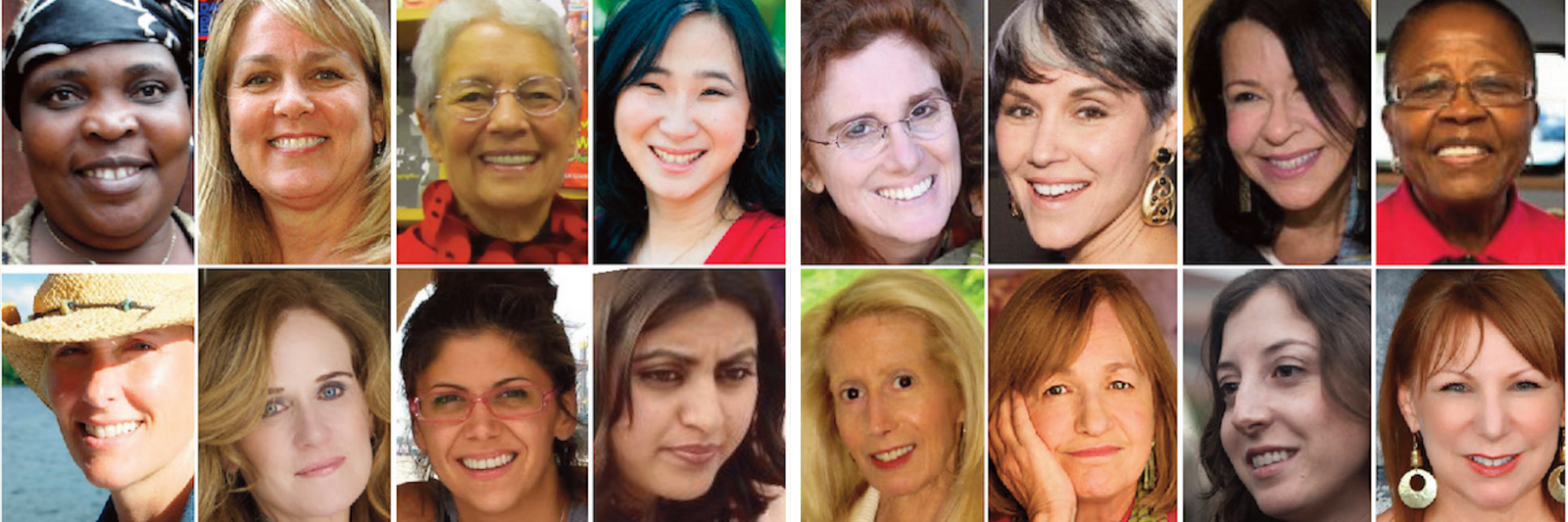 Get Updates from The Women's Eye with background photo featuring some of the women featured in 20 Women Changemakers with co-editors Pamela Burke and Patricia Caso of The Women's Eye
