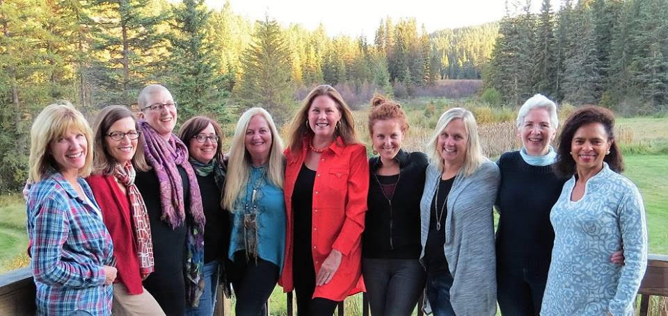 Laura Munson, founder of Haven Writing Programs with writers at her Haven Writing Retreat in Montana