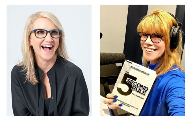 "Mel Robbins, TV talk show host and author with Stacey Gualandi who is holding Robbins' book, ""The 5 Second Rule"