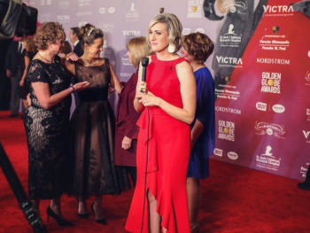 Lindsey Seavert, KARE11 Reporter, reporting from the Golden Globes