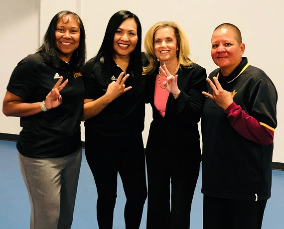 Dr. Michelle Tom, family physician at Navajo Nation with her former basketball coach at ASU WBB Charli Turner Thorne and friends Rainy Crisp (l) and Ryneldi Becenti (r)/Photo Courtesy Dr. Tom
