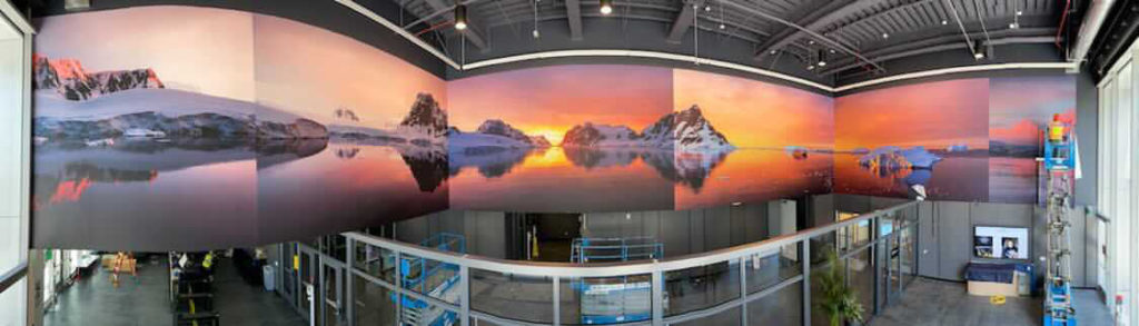 Camille's polar images on display, spreading over three walls at the new Facebook buildings in Burlingame, CA. Courtesy: Kristin Farr, Facebook Open Arts