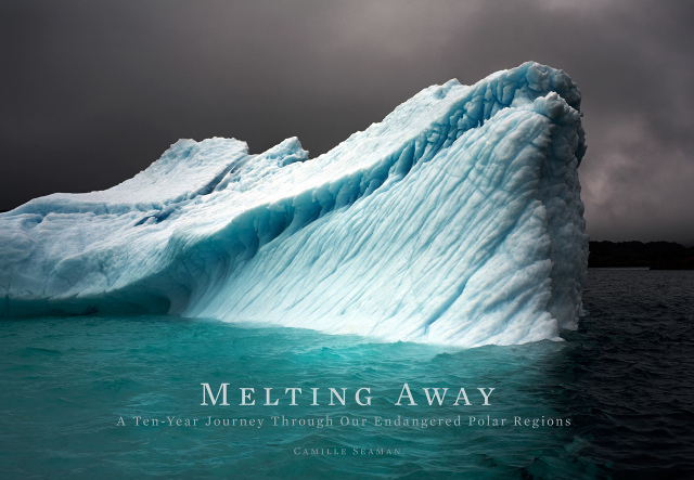 Cover Camille Seaman's book Melting Away with her photographs of icebergs